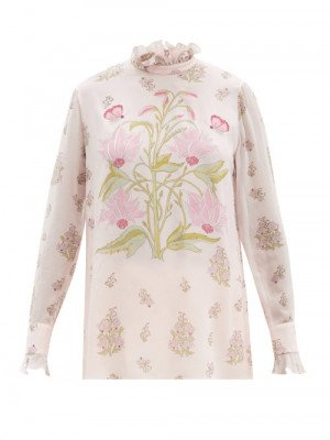 Matchesfashion Giambattista Valli - Ruffled Floral-print Silk-georgette Blouse - Womens - Pink Print