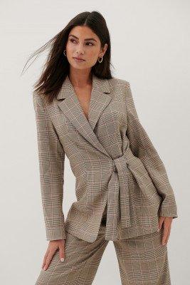 Paola Locatelli x NA-KD Blazer Met Knoop In De Taille - Multicolor