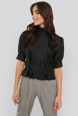 NA-KD Trend NA-KD Trend Structured Organza Gathered Blouse - Black