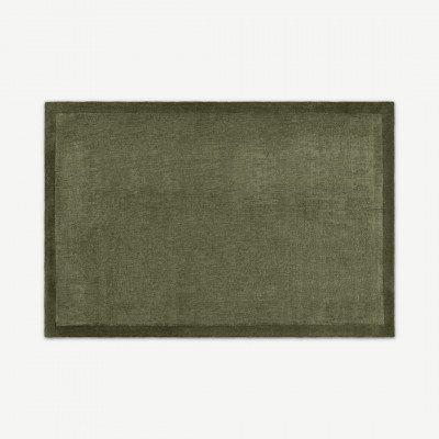 MADE.COM Jago vloerkleed met rand, Large 160 x 230cm, mosgroen