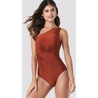 Trendyol Ruffle Detail Swimsuit - Brown