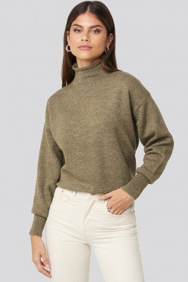 NA-KD NA-KD Turtleneck Oversized Knitted Sweater - Brown