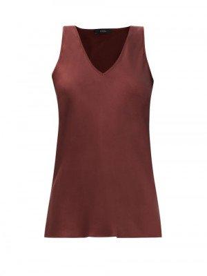 Matchesfashion Joseph - Belva V-neck Silk-satin Top - Womens - Burgundy