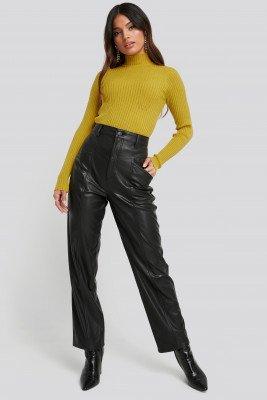 NA-KD NA-KD Faux Leather Straight Leg Pants - Black