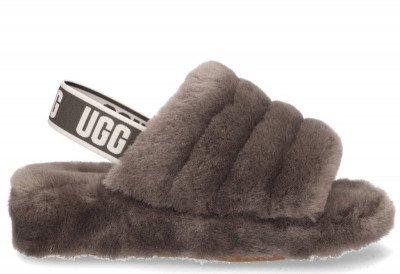 UGG UGG Fluff Yeah Logo Slide Donkergrijs Damessandalen