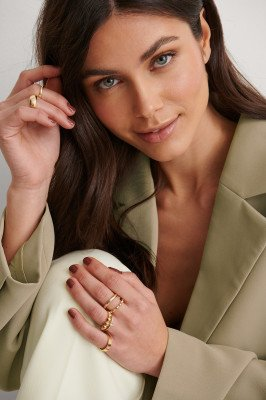 NA-KD Accessories NA-KD Accessories Gerecycleerd Ringenset - Gold