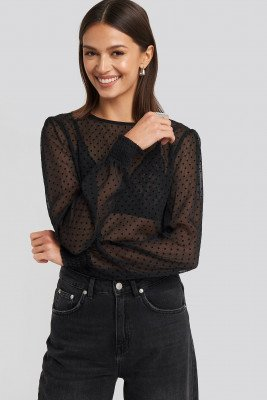 NA-KD Party NA-KD Party Sheer Dotted Round Neck Blouse - Black