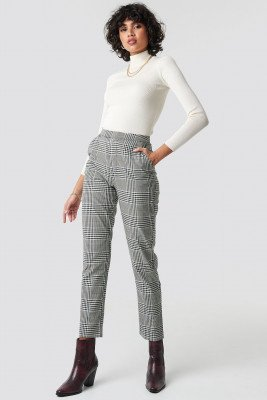 NA-KD Classic NA-KD Classic High Waist Checkered Suit Pant - Grey,Multicolor
