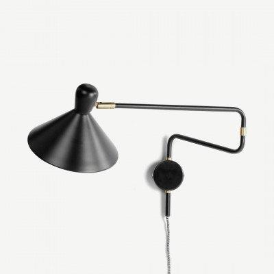 MADE.COM Ogilvy verstelbare wandlamp, mat zwart en messing