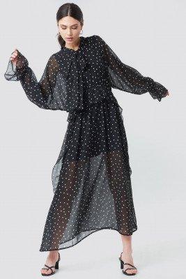 NA-KD Trend NA-KD Trend Tie Collar Printed Maxi Dress - Black