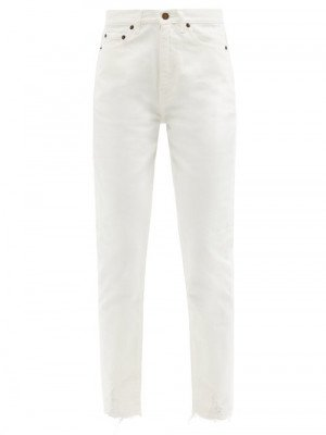 Matchesfashion Saint Laurent - High-rise Distressed-cuff Cropped Jeans - Womens - White