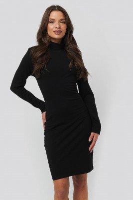 NA-KD Basic NA-KD Basic Polo Neck Dress - Black