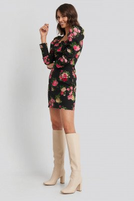 NA-KD Trend NA-KD Trend Square Neck Puffy Sleeve Dress - Multicolor