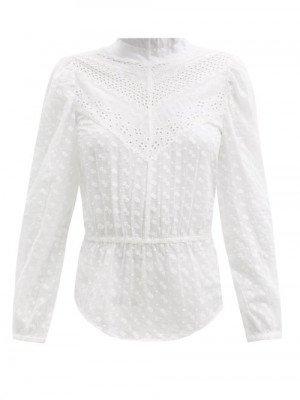 Matchesfashion Isabel Marant Étoile - Taziae Broderie-anglaise Cotton-voile Top - Womens - White