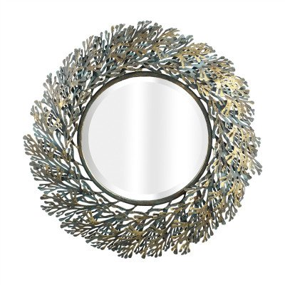 Firawonen.nl PTMD Carlyn Antique ijzeren spiegel koraalbladeren rond