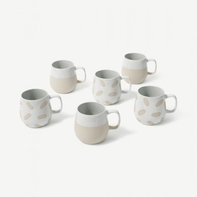MADE.COM Veeka set van 6 mokken met waxrelief, lichtbeige en wit