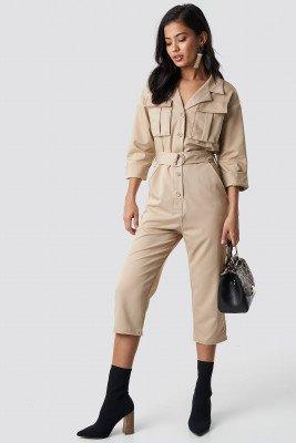 NA-KD Trend NA-KD Trend Front Pockets Belted Jumpsuit - Beige