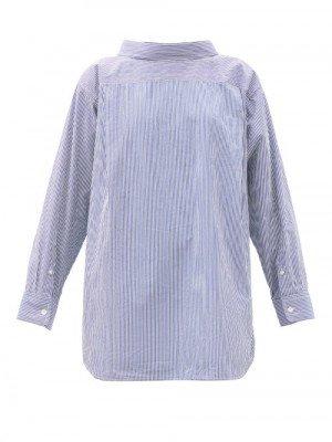 Matchesfashion Balenciaga - Double-back Striped Cotton-blend Shirt - Womens - Blue