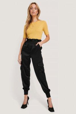 NA-KD Trend NA-KD Trend Shirred Hem Cargo Pants - Black