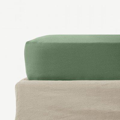 MADE.COM Tira hoeslaken van linnen en katoenmix, tweepersoons, bleekgroen