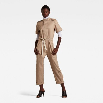 G-Star RAW Short Sleeve Workwear Jumpsuit - Beige - Dames