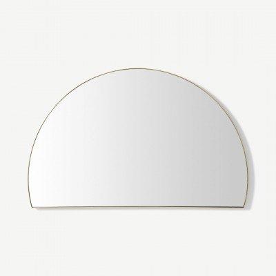 MADE.COM Arles wandspiegel, halve cirkel, 54 x 85 cm, geborsteld messing