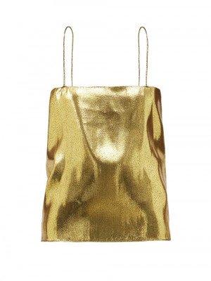 Matchesfashion Alexandre Vauthier - Square-neck Silk-blend Lamé Camisole - Womens - Gold