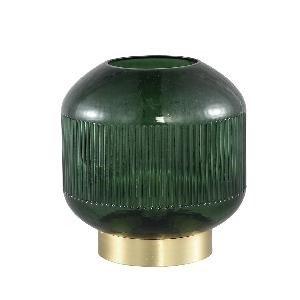 Firawonen.nl PTMD destin groen glazen tafel lamp led geribbeld