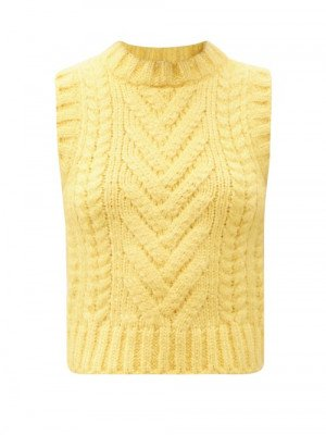 Matchesfashion Cecilie Bahnsen - Frida Ribbed & Cable-knit Sleeveless Silk Sweater - Womens - Yellow