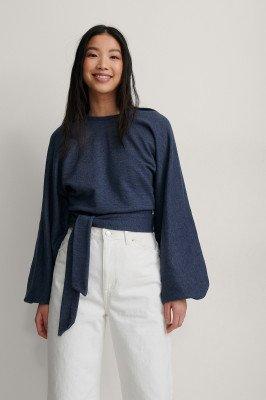 NA-KD Trend NA-KD Trend Organisch Sweatshirt Met Overslag - Navy
