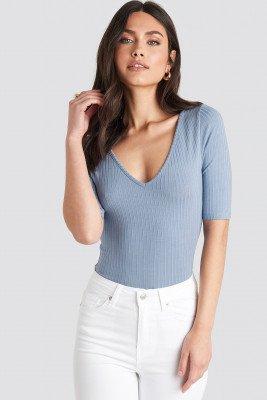 NA-KD Basic NA-KD Basic Ribbed Short Sleeve V-neck Top - Blue
