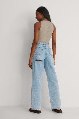 NA-KD Trend NA-KD Trend Jeans Met Wijde Pijpen, Hoge Taille En Uitsnijding Op De Rug - Blue
