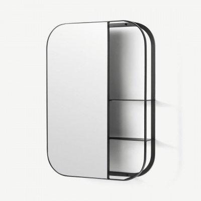 MADE.COM Stria spiegel met plank, zwart
