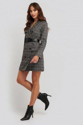 NA-KD Classic Plaid Double Breasted Blazer Dress - Grey