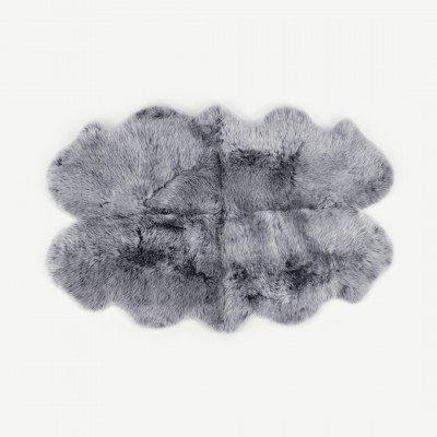 MADE.COM Helgar groot quad schapenvacht vloerkleed, 105 x 170 cm, grijs