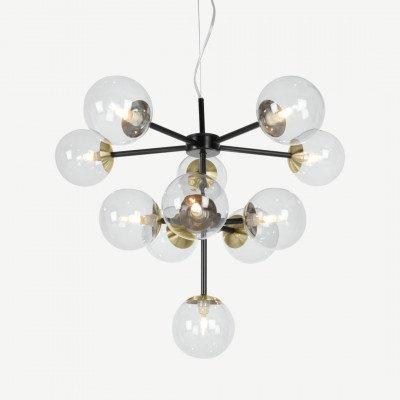 MADE.COM Globe kroonluchter, zwart, antiek messing en licht rookglas