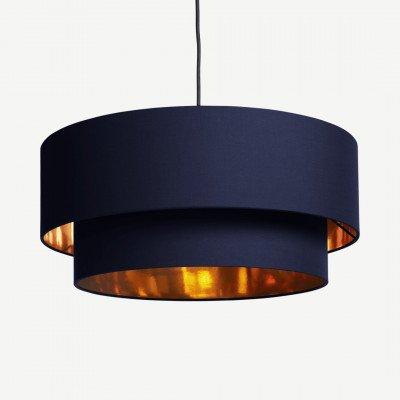 MADE.COM Oro gelaagde hanglampenkap, violetblauw en koper