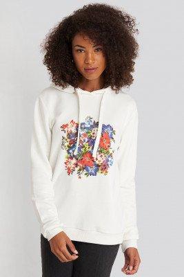NA-KD NA-KD Box Floral Hoodie - White