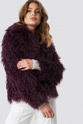 NA-KD NA-KD Faux Fur Short Jacket - Purple
