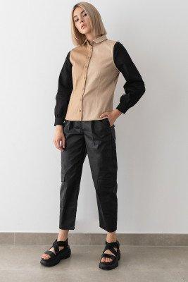 Stefanie Giesinger for nu-in Colour Block Puff Sleeve Denim Shirt