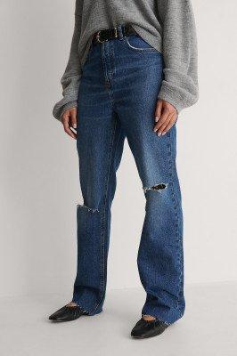 NA-KD Trend NA-KD Trend Rechte Jeans Met Hoge Taille En Open Knieën - Blue