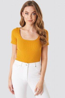 NA-KD Basic NA-KD Basic Ribbed Short Sleeve Top - Yellow