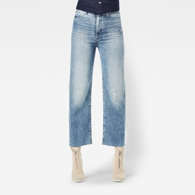 G-Star RAW Tedie Ultra High Straight Ripped Edge Ankle Jeans - Lichtblauw - Dames