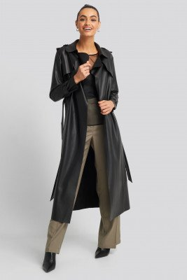 Trendyol Long PU Coat - Black
