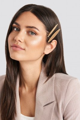 NA-KD Accessories 2-Pack Slim Hairclips - Gold