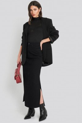 NA-KD Trend NA-KD Trend Side Split Maxi Denim Skirt - Black