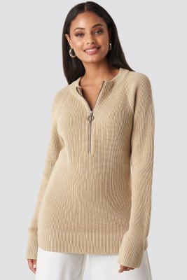 NA-KD Zipper Front Knitted Sweater - Beige