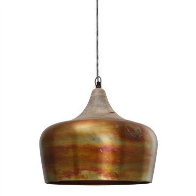 Firawonen.nl PTMD Danish copper iron smooth hanging lamp round with