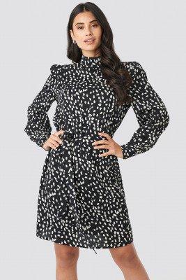 NA-KD NA-KD High Neck Dotted Dress - Black