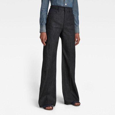G-Star RAW Deck Ultra High Wide Leg Jeans - Zwart - Dames